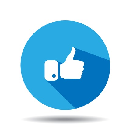 blue button: Flat Blue Button Hand Like Icon