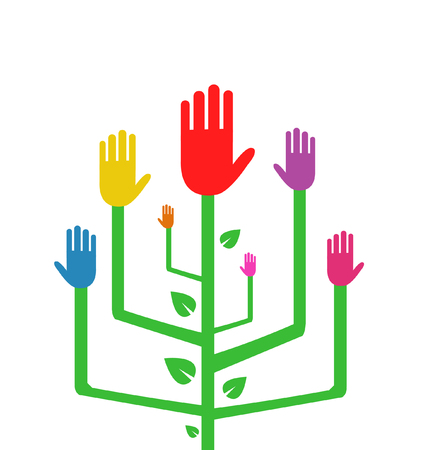 Vector Illustration of an Abstract Tree with Colorful Hands