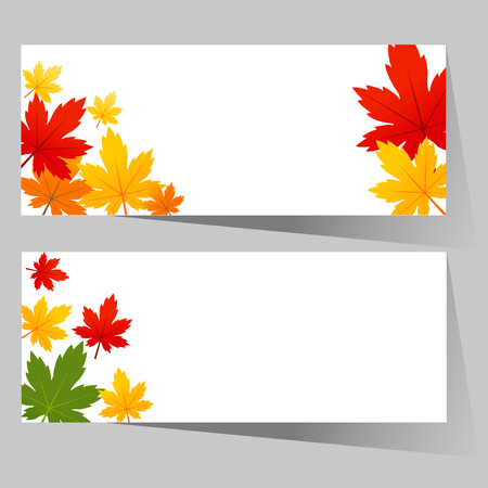 cooper: card with maple autumn leaves Illustration