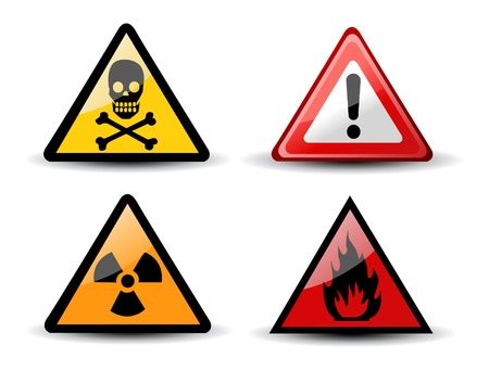 laser hazard sign: Set of Triangular Warning Hazard Signs