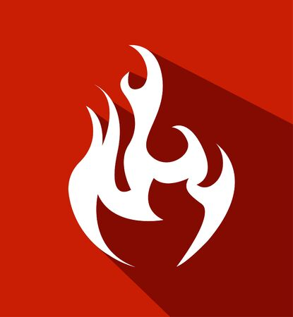 Fire. Flat white symbol
