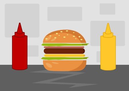 ensalada de verduras: Ilustración del vector de la historieta de la hamburguesa