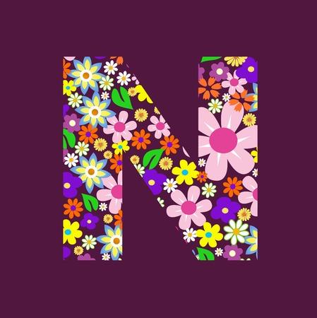 Letter of beautiful flowers N Vektorové ilustrace