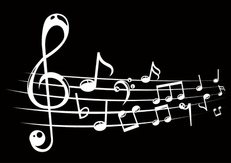 stave: Musical notes staff background with lines. Vector illustration.