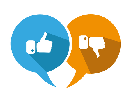 internet mark: Modern Thumbs Up and Thumbs Down Icons Illustration