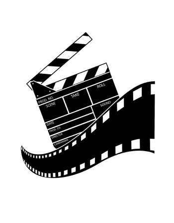 cinematograph: Clapperboard isolated on White Background Illustration