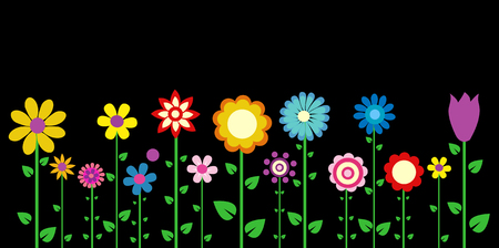 groovy: colorful spring flowers vector illustration