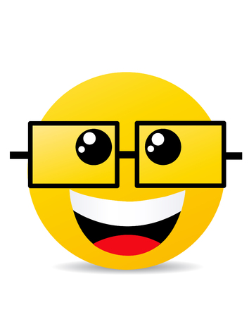 smile happy: Modern yellow laughing happy smile Illustration