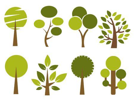 trees illustration: Set of trees vector illustration