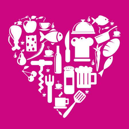 Food and Kitchen Icons Set Illustration