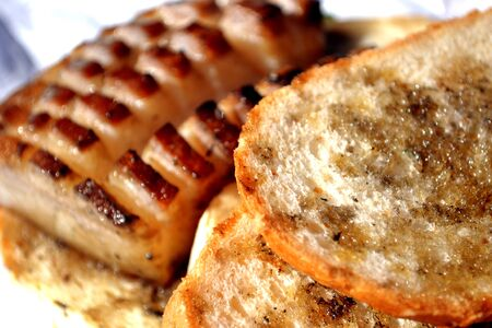 comestible: Bacon cut with bread Stock Photo