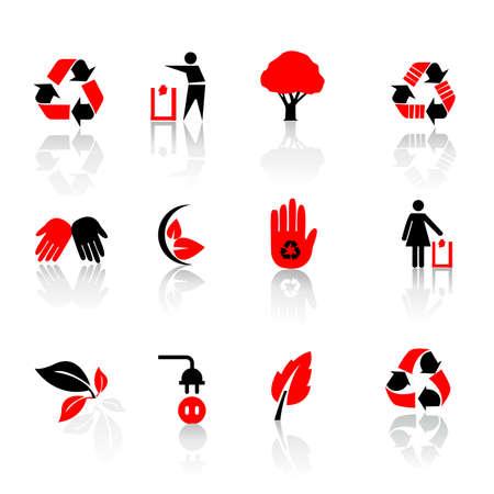 recycling symbols: Vector set of environmental  recycling icons Illustration
