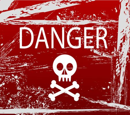 Warning sign with skull vector illustration.