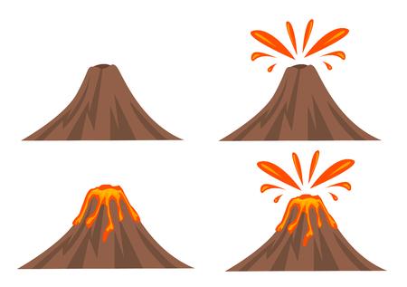 Volcano Icon Set Isolated on White Background