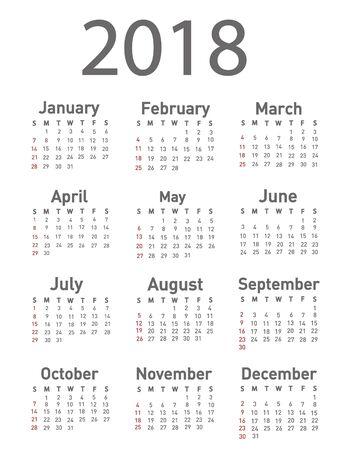event planner: Calendar for 2018 vector illustration