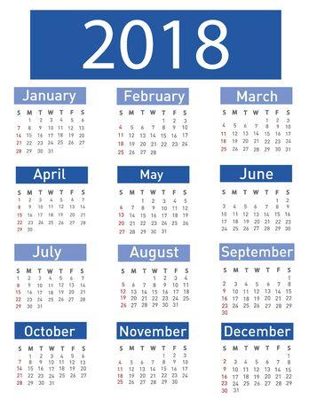 event planner: Calendar for 2018 with blue header illustration