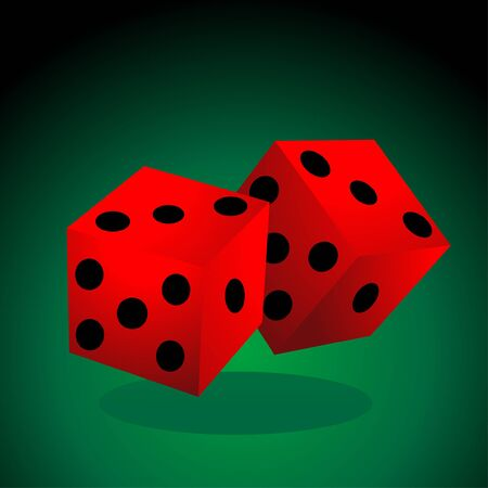 A dice vector illustration on a plain background.