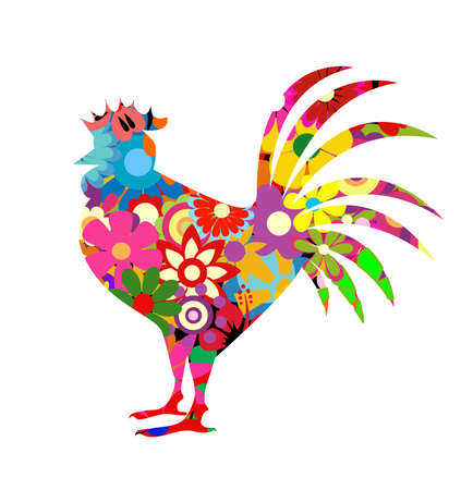 Red rooster on white background Illustration