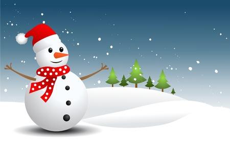 Snowman, vector illustration Illustration