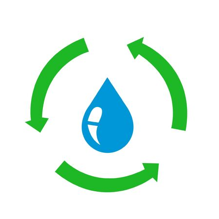 Water drop icon with recycle sign Illustration