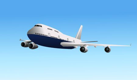 Airplane flying, a vector illustration isolated on  blue sky background