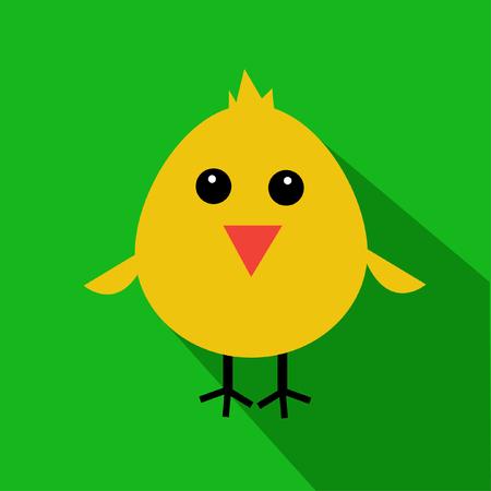 Cute yellow cartoon baby chicken Illustration