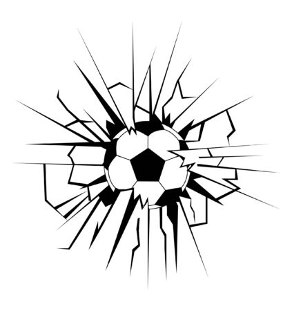 vector illustration with soccer ball coming in cracked wall