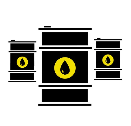 Vector illustration of oil barrels