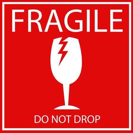 Simbolo di imballaggio del materiale fragile o fragile