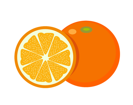 Orange organic healthy natural food icon. Flat and Isolated illustration