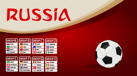 Football World championship groups. Vector country flags. Illustration