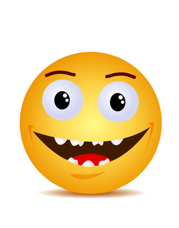 Modern yellow laughing happy smile Stock Illustratie