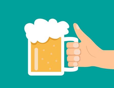 Mannenhand houden glas bier Vector Illustratie