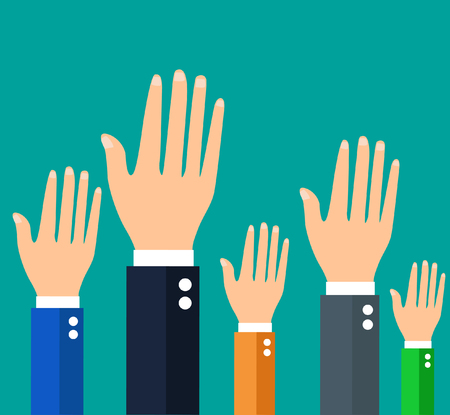businessman holding their hands up