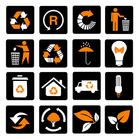 Vector set of environmental  recycling icons Stock Illustratie
