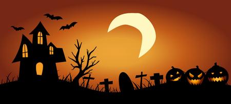 Fond d'Halloween avec maison hantée Vecteurs