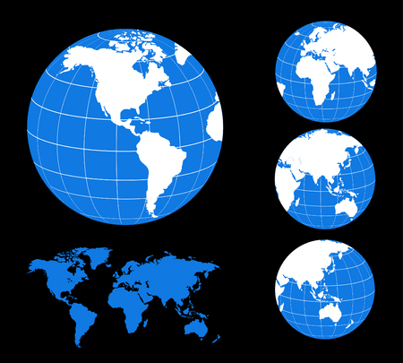 Vector Map and Globe of the World Stock Illustratie