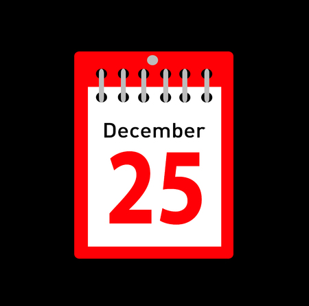 Vector illustration of calendar with Christmas date