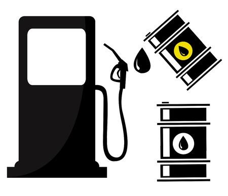 Gas Station sign with oil barrels Çizim