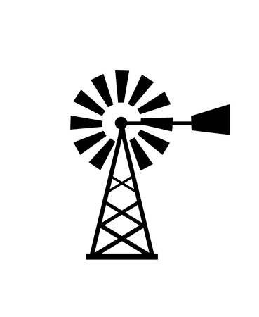 windmill, wind power vector illustration Standard-Bild - 124771357