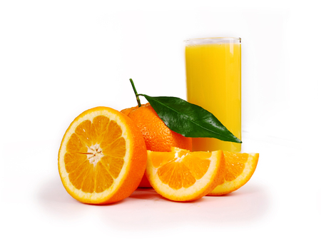 One oranges and half juicy half oranges Stockfoto