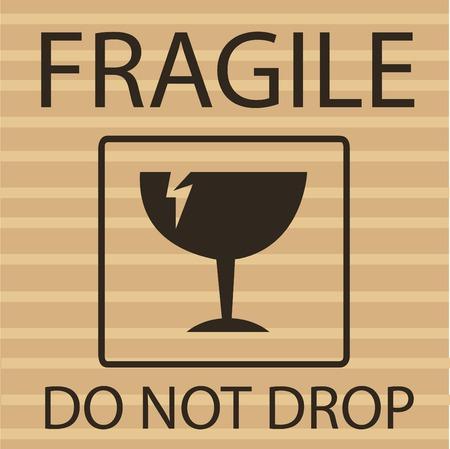 Símbolo de embalaje de material frágil o rompible Ilustración de vector