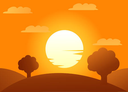 autumn trees vector illustration with sundown Stockfoto - 121667488