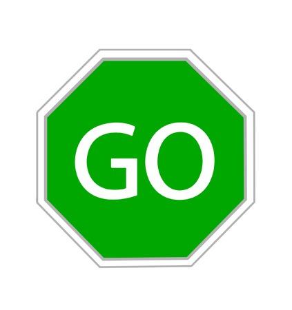Go sign on white background