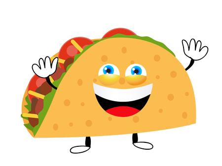 Taco vector illustration in cartoon style. Taco mexican food.