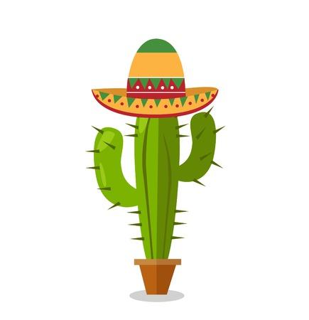 Cactus plant vector illustration with sombrero