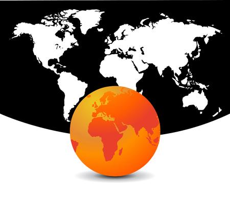 World map with world globe Stock Illustratie
