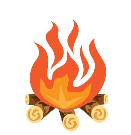 Campfire vector icon illustration