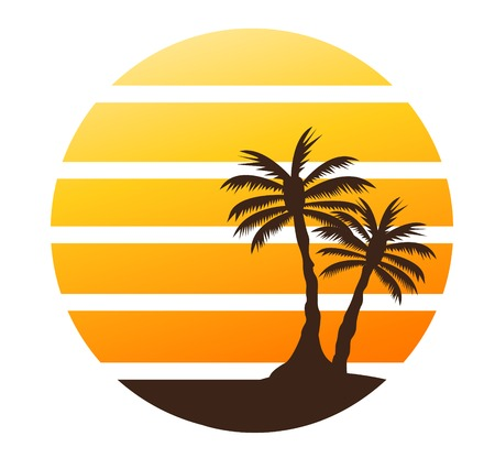 Summer color background with palm trees 版權商用圖片 - 122553701