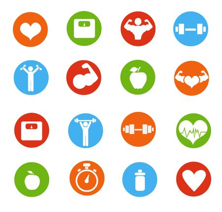 Ilustración de vector de iconos de fitness